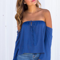 Lana Tie Front Off The Shoulder Top - Blue