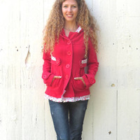 Red Hoodie Pea Coat , upcycled jacket , romantic boho chic style , indie one of a kind womens size small med refashioned by wearlovenow