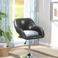 King's Brand Modern Designs Black Faux Leather With Chrome Finish Air Lift Adjustable Swivel Chair