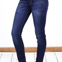 Solid Mid-Rise Double Button Skinny Jeans {D. Blue}