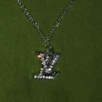 LV trend hot selling flash diamond letter necklace neck chain
