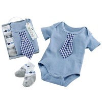 Baby Aspen Little Man Plaid Tie Bodysuit & Sock Set - Baby Boy, Size: One Size (Blue)