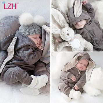 LZH Infant Clothing Baby Girl Boys Clothes Autumn Spring Newborn Baby Rompers For Baby Jumpsuit Overalls Easter Costume 0-2 Year