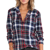 Equipment Signature Plaid Blouse in Navy