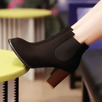 Women Ankle Boots Vintage Square High Heels Design Party Casual Outdoor