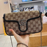 GUCCI GG Canvas Embroidered Letter Flap Crossbody Bag Chain Crossbody Bag-1