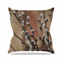 "Angie Turner ""Pussy Willows"" Brown White Throw Pillow"