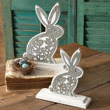 Set of 2 Wooden Bunnies with Metal Cutouts