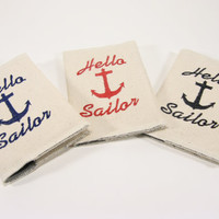 Passport Cover Canvas Anchor Hello Sailor by LolaJeans on Etsy
