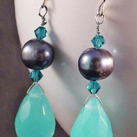 Large Aqua Chalcedony Dangle Earrings, Blue Rainbow Peacock Pearls | BellaSweet - Jewelry on ArtFire