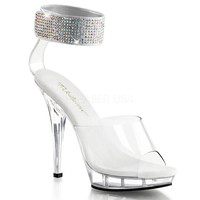 Clear 5 Inch High Heel 3/4 Inch Platform Open-Toe Strappy Sandals