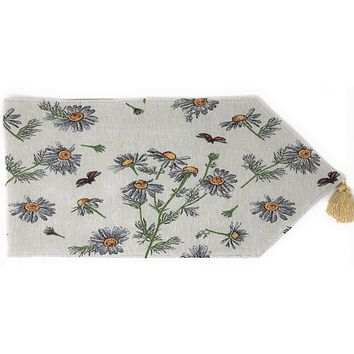 Tache Floral Yellow Daisies Ladybugs Ivory Woven Tapestry Table Runner (18114)