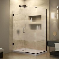 DreamLine Unidoor Plus 34-3/8 in. x 34-1/2 in. x 72 in. Hinged Shower Enclosure with Half Frosted Glass Door in Oil Rubbed Bronze-SHEN-24345340-HFR-06 - The Home Depot