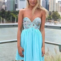 Blue Strapless Dress with Sequin&Jewel Embellished Top