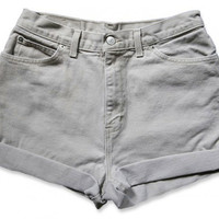 Vintage 90s Tan Beige Colored High Waisted Rise Cut Offs Cuffed Rolled Jean Denim Shorts – Size 28