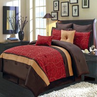 Atlantis Red 8-Piece Comforter Set