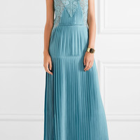 Stella McCartney - Adele guipure lace-paneled pleated satin gown