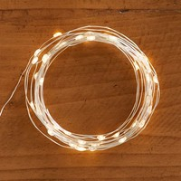 WHITE RICE WITH SILVER WIRE LED STRING LIGHTS, 15.5'