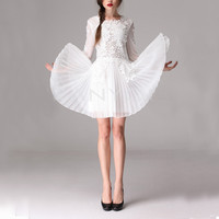 Cute lace hollow out pleated dress - 3colors in