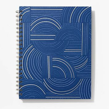 Abstract Navy and Silver Spiral Notebook