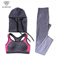 Yoga Sport Suit Bra Set 3 Piece Female Long sleeved Sportswear Gym Running Workout Clothes Pants+Bra+Jacket Yoga