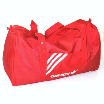 vintage ADIDAS red duffel bag 80s 90s ATHLETIC gear designer OVERNIGHTER gym duffle bag