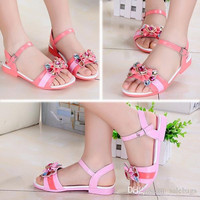 New Fashion Children Shoes Girls Sandals Faux Leather Breathable Diamond Bowknot Children Buckle Beach Sandals Size 31-36 VY0019 salebags