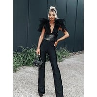 Disana Elegant V Neck Luxury Jumpsuit