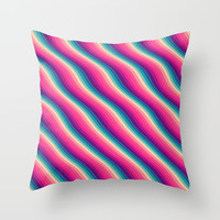 Abstract Color Burn Pattern - Geometric Lines / Optical Illusion in Rainbow Acid Colors Throw Pillow by Badbugs_art