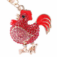 Novelty Crystal Cock Rooster Chicken Key chain Rhinestone Keychain Animal Metal Keyring For Women Bag Pendant Jewelry PWK0333