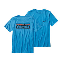 Patagonia Men's P-6 Logo Cotton T-Shirt- Skipper Blue