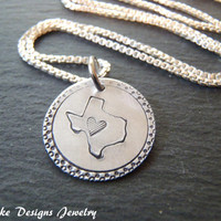 Sterling silver custom state Necklace personalized state outline jewelry