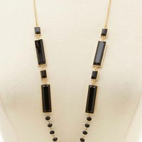 Gold Long Bead & Faceted Stone Necklace by Charlotte Russe