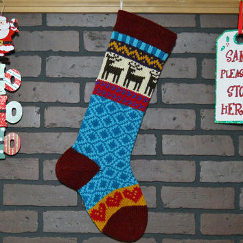 Personalized Christmas Stocking Hand Knit in Burgudy with Reindeer and Hearts, colorful stocking, Fair Isle Knit, Housewarming/ Wedding Gift