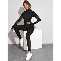 Quarter Zip Mesh Panel Top & Leggings