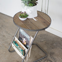 Numéro 5 Round Side Table with Magazine Hammock