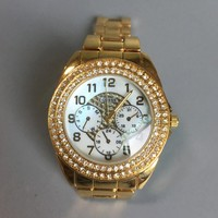 GUESS Fashion new diamond round edge and dial diamond women and men watch Golden