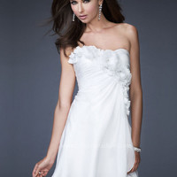 Beautiful White Scoop Neckline Mini Flowers Chiffon Graduation Dress-SinoSpecial.com