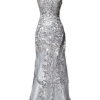 KC131552 Silver V Neck Evening Gown Prom Dress by Kari Chang Couture