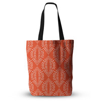 "Anneline Sophia ""Laurel Leaf Orange"" Red Floral Everything Tote Bag"