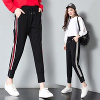Stretch Waist Black Sweatpants Autumn Women Pants 2017 Joggers Casual Baggy Side Stripe High Waist Lady Trousers Pantalon Femme