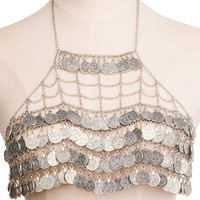Alloy Engraved Geometric Coins Body Chain