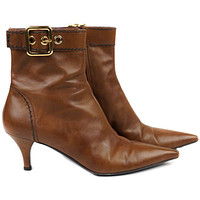 Prada Booties Brown Leather Ankle Booties US 8 Pre-Owned Used