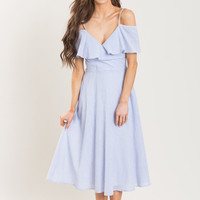 Jane Blue Striped Ruffle Midi Dress