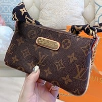 LV New fashion more letter leather shoulder bag crossbody bag handbag Coffee