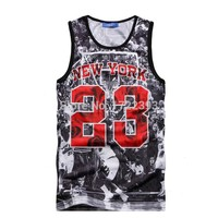 New Summer vest top ball game Jordan 23 Print men jersey brand fitness fashion men 3d tank tops Free shipping