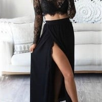 Black Lace Draped Side Slit Two Piece High Waisted Flowy Party Maxi Dress
