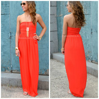 Hope Cove Red Pocket Maxi Dress