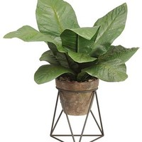 "House Plant Stand with Fake Potted Tropical Leaves - 20"" Tall"