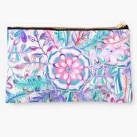 Boho Flower Burst in Pink and Teal by micklyn